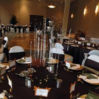 Reception, Flowers & Decor, orange, green, brown, Centerpieces, Fall, Centerpiece, Menu, Jameson creations