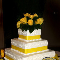 Cakes, white, yellow, cake, Square Wedding Cakes, Square, Roses, Wedding, Sweet designs cakery, Yelllow