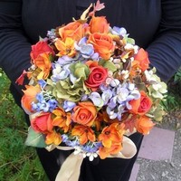 Flowers & Decor, ivory, orange, purple, brown, gold, Bride Bouquets, Fall, Flowers, Fall Wedding Flowers & Decor, Roses, Bouquet, Champagne, Weddings, Hydrangea, Autumn, Silk