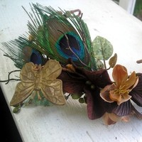 Beauty, Flowers & Decor, Jewelry, blue, green, brown, gold, Tiaras, Feathers, Bride Bouquets, Bride, Flowers, Hair, Tiara, Head, Wreath, Butterflies, Peacock, Silk, Piece, Copper
