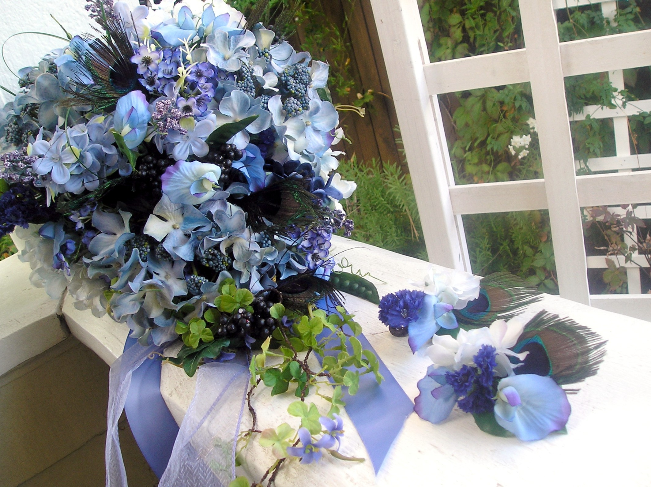 Beauty, Flowers & Decor, purple, blue, green, Feathers, Bride Bouquets, Boutonnieres, Flowers, Bouquet, Bridal, Boutonniere, Weddings, Cascade, Peacock, Silk, Wildflowers