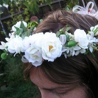 Beauty, Flowers & Decor, Jewelry, white, green, Tiaras, Headbands, Bride Bouquets, Bride, Accessories, Flowers, Hair, Tiara, Princess, Victorian, Weddings, Flowergirl, Head, Costume, Headband, Piece, Renaissance, Women