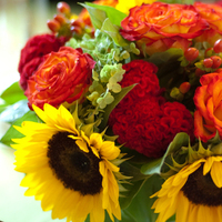 Flowers & Decor, yellow, orange, red, gold, Bride Bouquets, Centerpieces, Flowers, Flower, Bouquet, Centerpiece, Sunflower, Country way flowers
