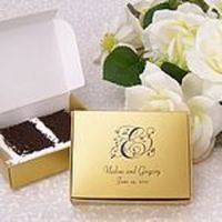 Reception, Flowers & Decor, Favors & Gifts, Cakes, white, brown, silver, gold, cake, favor, Boxes, Myweddingreceptionideascom, Slice