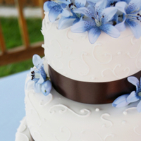 Cakes, white, blue, brown, cake, Ribbon Wedding Cakes, Wedding, Ribbon, With, J lauren events