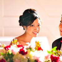 Beauty, Reception, Flowers & Decor, pink, red, Makeup, Centerpieces, Flowers, Centerpiece, Hair