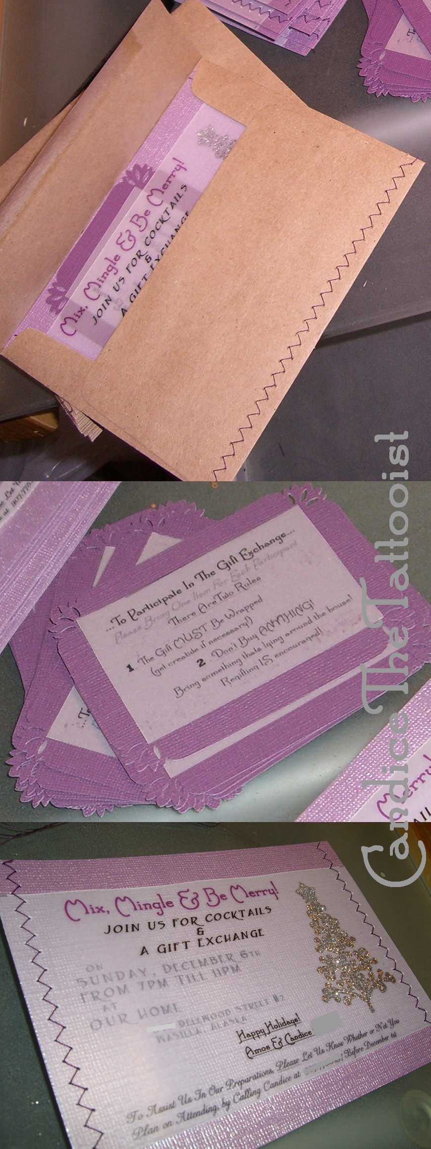 Stationery, purple, silver, Invitations