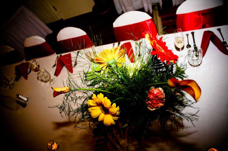 Reception, Flowers & Decor, yellow, orange, red, Fall, Flowers, Fall Wedding Flowers & Decor, Calla, Chair, Daisy, llc, Linens, Covers, Gerbera, Amy nixon events, Flame