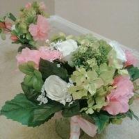 white, orange, pink, Pink florals