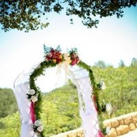 Reception, Flowers & Decor, white, yellow, pink, green, Arch, Tulle
