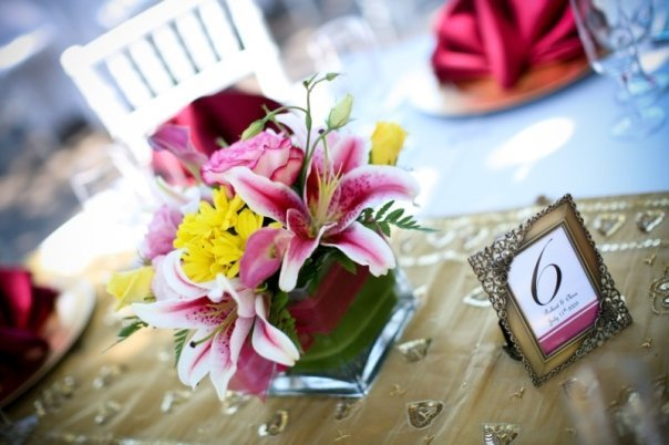 Reception, Flowers & Decor, pink, red, gold, Centerpieces, Flowers, Centerpiece, Table, Number, Lilly, Stargazer