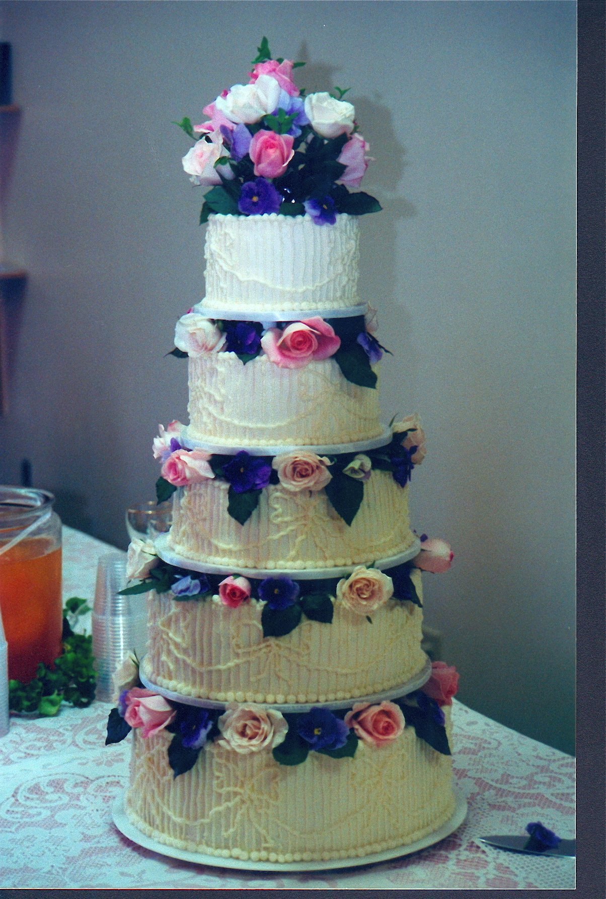 Cakes, white, pink, purple, cake