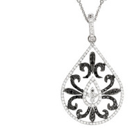 Jewelry, white, Necklaces, White Gold, Necklace, Pendant, Yael designs, Black diamonds, White diamonds