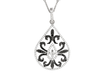 Jewelry, white, Necklaces, White Gold, Necklace, Pendant, Yael designs, Black diamonds, White diamonds