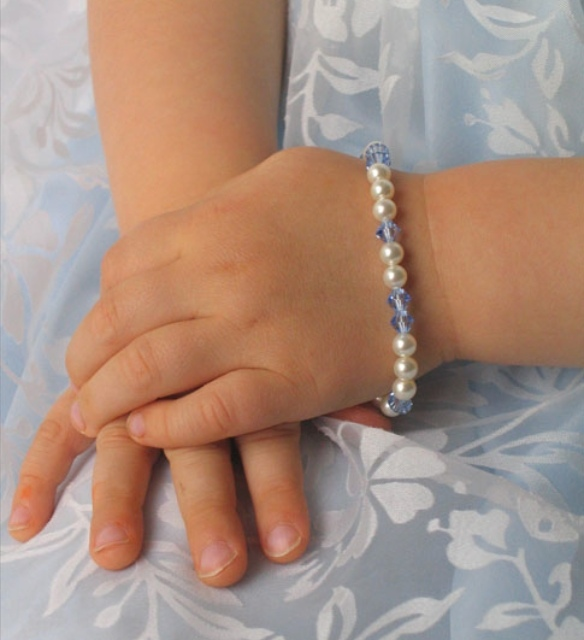 Flowers & Decor, Jewelry, blue, Bracelets, Flower, Girl, Crystal, Bracelet, Emmas bridal jewelry, Pearl