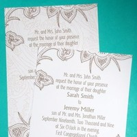 Stationery, white, brown, Invitations