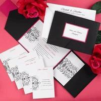 Stationery, pink, black, Invitations, Hot pink, Carlson craft, Neotericexpressions