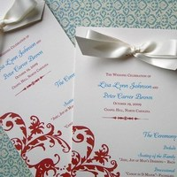 Ceremony, Flowers & Decor, Stationery, orange, gold, Ceremony Programs, Wedding, Program, Elegant, Damask, Rust, 2bsquared designs
