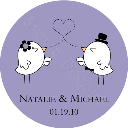 Favors & Gifts, Favors, Bride, Groom, Monogram, Wedding, Bird, You, Thank, Personalized, Love, Stickers, Lovebird, Party doodles