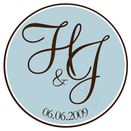 Favors & Gifts, Favors, Monogram, Wedding, Initials, You, Thank, Personalized, Stickers, Party doodles