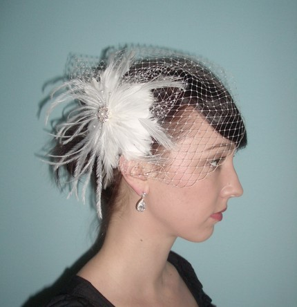 Beauty, Bridesmaids, Bridesmaids Dresses, Wedding Dresses, Veils, Fashion, white, silver, dress, Feathers, Comb, Veil, Hair, Bridal, Crystal, Birdcage, Rhinestone, Clip, Feather, Ostrich, Tessa kim veils, Feather Wedding Dresses