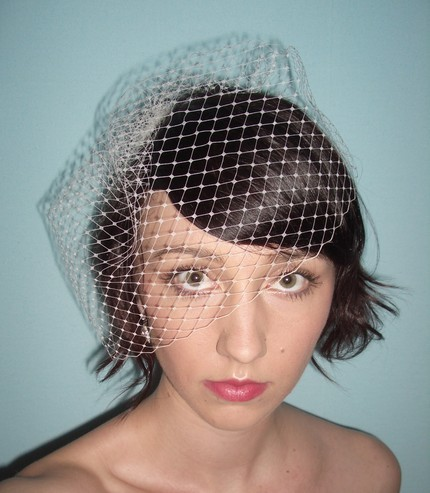 Beauty, Wedding Dresses, Veils, Fashion, white, yellow, pink, red, purple, blue, green, brown, black, silver, gold, dress, Comb, Veil, Hair, Bridal, Mini, Birdcage, Inch, 9, Tessa kim veils, Tessakim