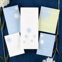 Stationery, white, blue, green, Invitations, Floral, Neotericexpressions, Dandelions