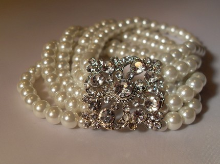 Jewelry, Bridesmaids, Bridesmaids Dresses, Wedding Dresses, Fashion, white, dress, Bracelets, Bridal, Crystal, Bracelet, Pearl, Clear, Precieuxny designs