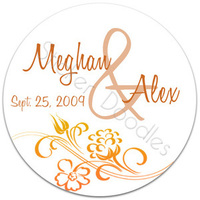 Favors & Gifts, Stationery, Favors, Fall, Invitations, Monogram, Wedding, Floral, You, Thank, Personalized, Stickers, Autumn, Party doodles