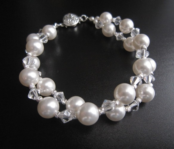 Jewelry, white, Bracelets, Bridesmaid, Bridal, Elegant, Crystal, Weddings, Bracelet, Swarovski, Pearl, Sparkling, European bride, Double strand