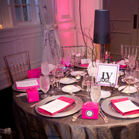 Reception, Flowers & Decor, Registry, pink, black, silver, Place Settings, Flowers, Menu, Napkins, Linens, Card, Plates, Etc, Charger, Soiree, Lampshade