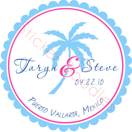 Favors & Gifts, Stationery, Destinations, Favors, Beach, Invitations, Monogram, Wedding, Destination, You, Thank, Palm, Personalized, Stickers, Trees, Party doodles