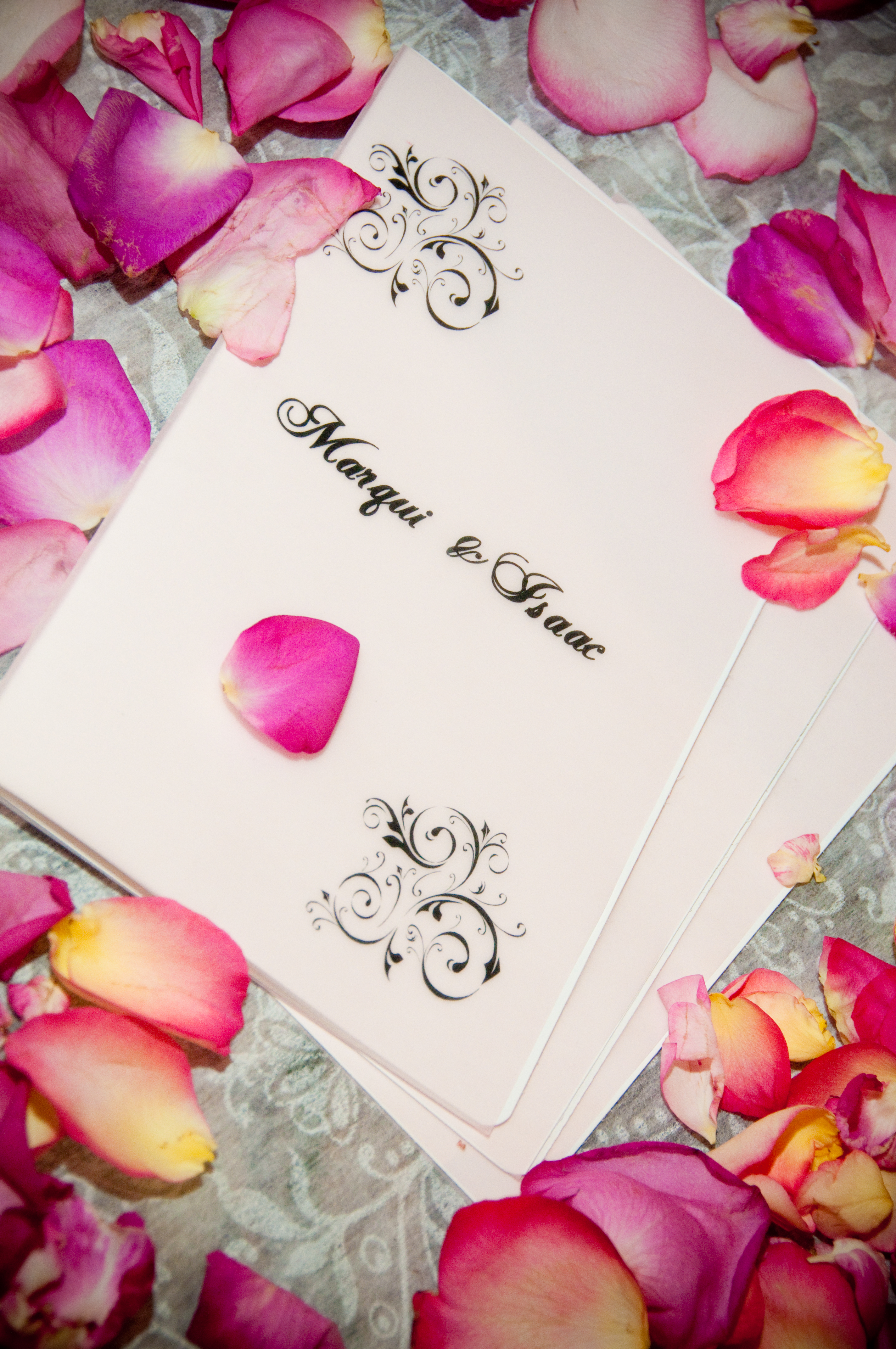 Ceremony, Flowers & Decor, Stationery, pink, black, silver, Ceremony Programs, Programs, Wedding, Rose, Petals, Etc, Soiree