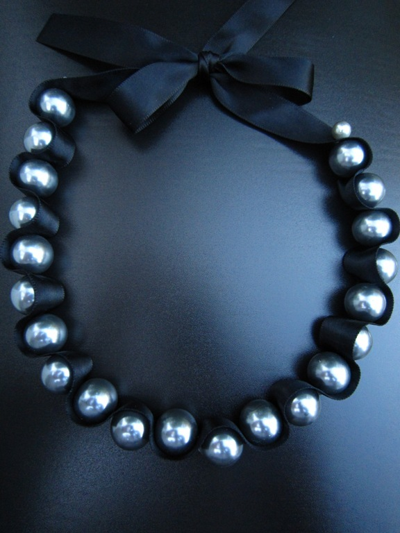Jewelry, gray, black, Necklaces, Grey, Elegant, Ribbon, Necklace, Formal, Choker, Pearl, Bridemaid, European bride, European bride - wedding special occasion jewelry