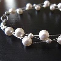Jewelry, white, silver, Bracelets, Bracelet, Delicate, Multi-strand, European bride, Faux pearls