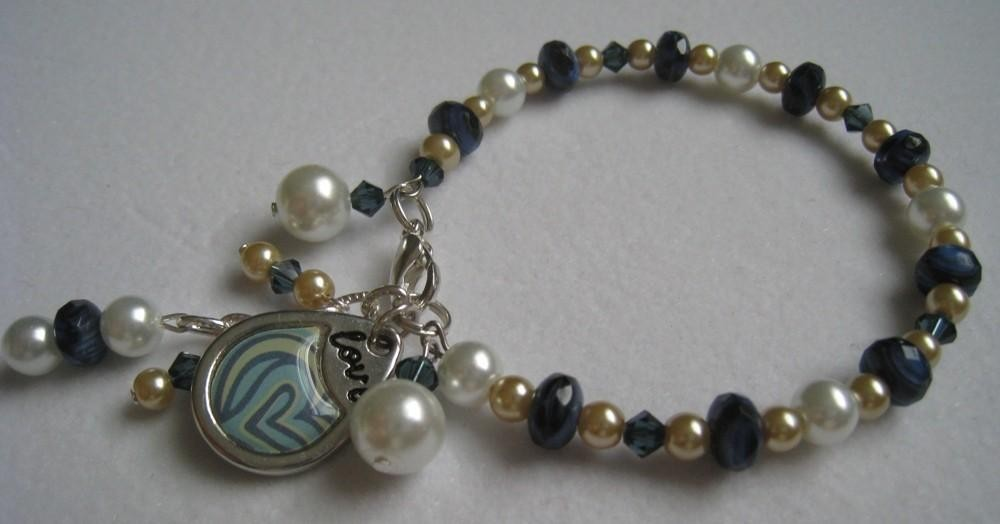 Jewelry, white, blue, silver, gold, Bracelets, Bridesmaid, Bridal, Bracelet, Swarovski crystal, Beaded, Navy blue, Gemstone, Charm bracelet, Gold pearl, Faux pearl, Memory wire
