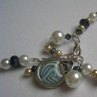 Jewelry, white, blue, silver, gold, Bracelets, Bridesmaid, Bracelet, Pearl, Navy blue, European bride, Charm bracelet