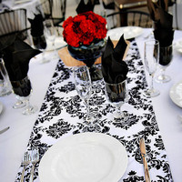 Reception, Flowers & Decor, white, black, Runners, Damask