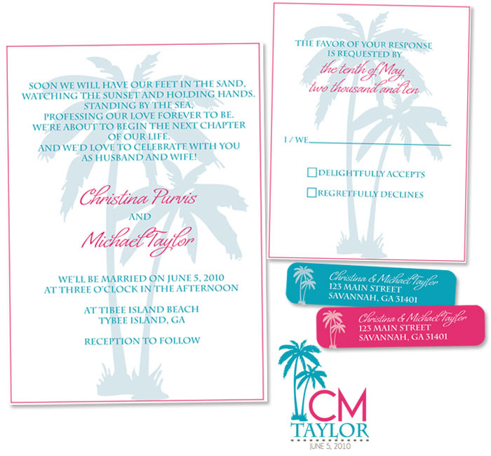 Stationery, Destinations, pink, blue, brown, invitation, Beach, Beach Wedding Invitations, Invitations, Monogram, Destination, Stationary, Rsvp card, Lw designs, Return address lable