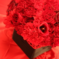 Flowers & Decor, red, black, Centerpieces, Flowers, Roses, Centerpiece, Low, Tulips, Sexy, Sultry, Entwined design