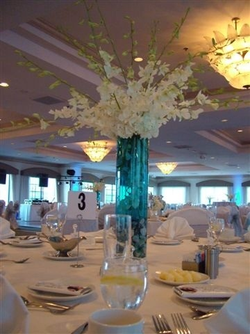Flowers & Decor, white, blue, Centerpieces, Flowers, Centerpiece, Wedding, And, Orchids, Water, Tall, Hydrangea, Dendrobium, Dendrobiums, Entwined design