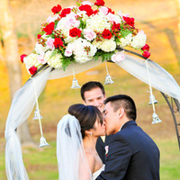 Ceremony, Flowers & Decor, Wedding Dresses, Veils, Fashion, ivory, pink, red, dress, Flower, Veil, Arch