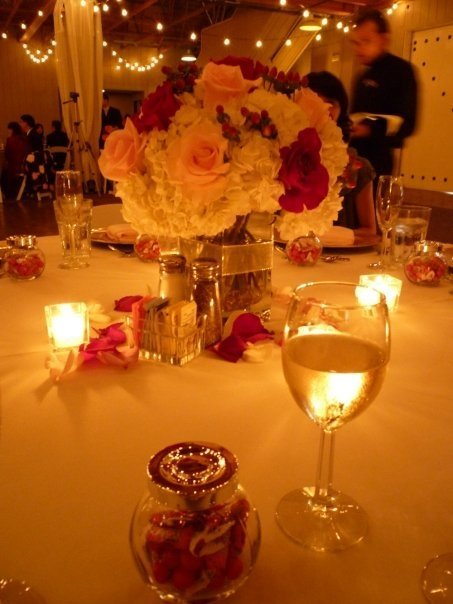 Reception, Flowers & Decor, Centerpieces, Candles, Flower, Centerpiece, Amber-lighting