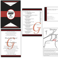 Stationery, white, red, black, silver, invitation, Invitations, Custom, Custom invitations, Gatefold, Kari lind creations