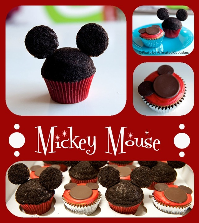 Cakes, red, black, cake, Cupcakes, Mouse, Mickey, Animated cupcakes