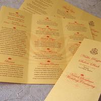 Ceremony, Flowers & Decor, red, gold, Indian, Wedding program, Metallic, Lotus, Papercake designs