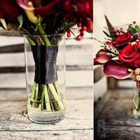Beauty, Flowers & Decor, red, black, Feathers, Bride Bouquets, Flowers, Bouquet, Bridal, Texture, Floral occasions, Rasberry