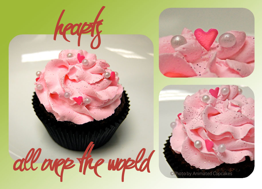 Cakes, pink, black, cake, Cupcakes, Heart, Hearts, Animated cupcakes