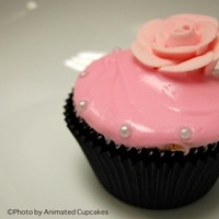 Cakes, pink, black, cake, Cupcakes, Roses, Animated cupcakes