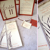 Ceremony, Reception, Flowers & Decor, Stationery, orange, brown, Escort, Branches, Table, Tent, Ceremony program, Papercake designs